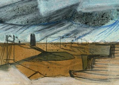 The Broads, Norfolk - composition #23 - mixed media drawing