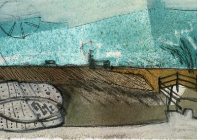 The Broads, Norfolk - composition #25 - mixed media drawing