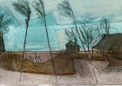 The Broads, Norfolk - composition #26 - mixed media drawing