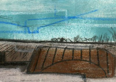 The Broads, Norfolk - composition #28 - mixed media drawing