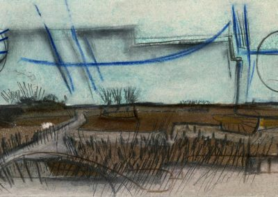 The Broads, Norfolk - composition #33 - mixed media drawing