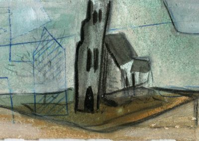 The Broads, Norfolk - composition #34 - mixed media drawing