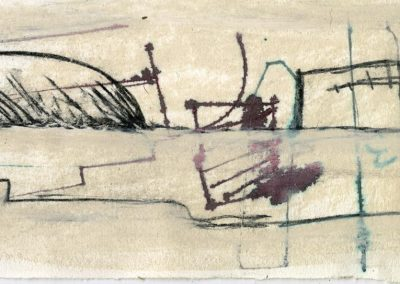 The Broads, Norfolk - composition #39 - mixed media drawing