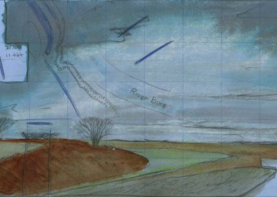 The Broads, Norfolk - walk 1 #02 - mixed media drawing