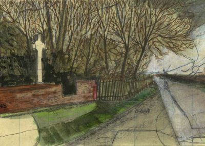 The Broads, Norfolk - walk 1 #03 - mixed media drawing