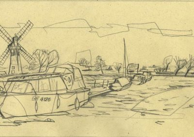 The Broads, Norfolk - walk 1 #07 - mixed media drawing