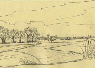 The Broads, Norfolk - walk 1 #09 - mixed media drawing