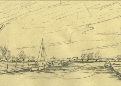 The Broads, Norfolk - walk 1 #10 - mixed media drawing