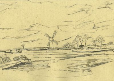 The Broads, Norfolk - walk 1 #11 - mixed media drawing