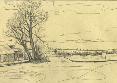 The Broads, Norfolk - walk 1 #12 - mixed media drawing