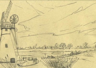 The Broads, Norfolk - walk 1 #13 - mixed media drawing