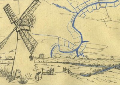 The Broads, Norfolk - walk 1 #14 - mixed media drawing