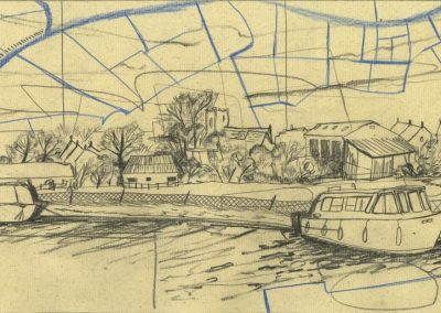 The Broads, Norfolk - walk 1 #16 - mixed media drawing