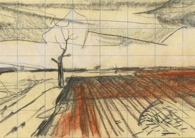 The Broads, Norfolk - walk 1 #19 - mixed media drawing