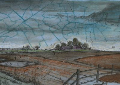 The Broads, Norfolk - walk 1 #24 - mixed media drawing