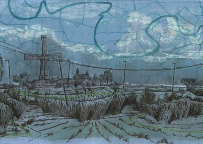 The Broads, Norfolk - walk 1 #26 - mixed media drawing