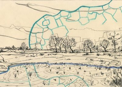 The Broads, Norfolk - walk 1 #36 - mixed media drawing