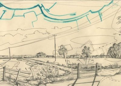 The Broads, Norfolk - walk 1 #38 - mixed media drawing