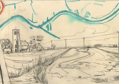 The Broads, Norfolk - walk 1 #39 - mixed media drawing