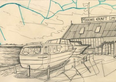 The Broads, Norfolk - walk 1 #42 - mixed media drawing
