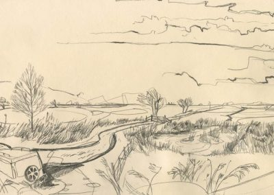 The Broads, Norfolk - walk 1 #47 - mixed media drawing