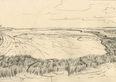 The Broads, Norfolk - walk 1 #48 - mixed media drawing