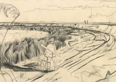 The Broads, Norfolk - walk 1 #51 - mixed media drawing
