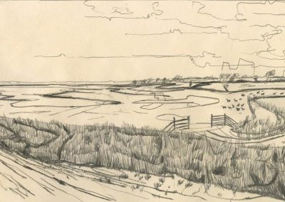The Broads, Norfolk - walk 1 #52 - mixed media drawing