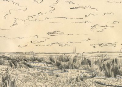 The Broads, Norfolk - walk 1 #53 - mixed media drawing