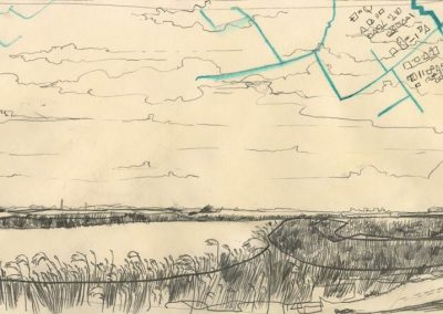 The Broads, Norfolk - walk 1 #54 - mixed media drawing