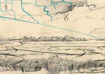 The Broads, Norfolk - walk 1 #55 - mixed media drawing
