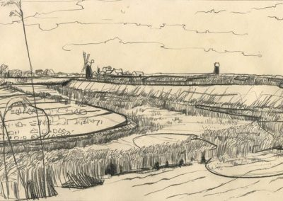 The Broads, Norfolk - walk 1 #59 - mixed media drawing
