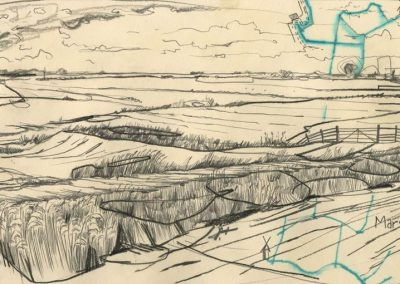The Broads, Norfolk - walk 1 #60 - mixed media drawing