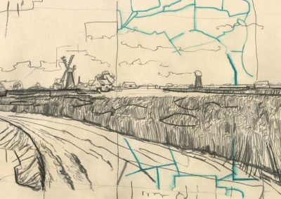 The Broads, Norfolk - walk 1 #61 - mixed media drawing