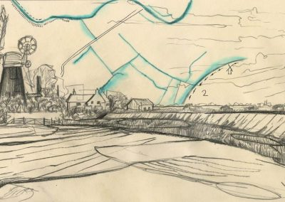 The Broads, Norfolk - walk 1 #62 - mixed media drawing