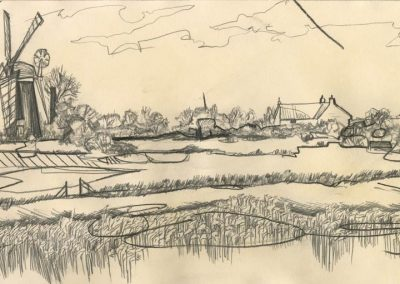 The Broads, Norfolk - walk 1 #63 - mixed media drawing