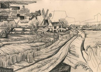 The Broads, Norfolk - walk 1 #66 - mixed media drawing