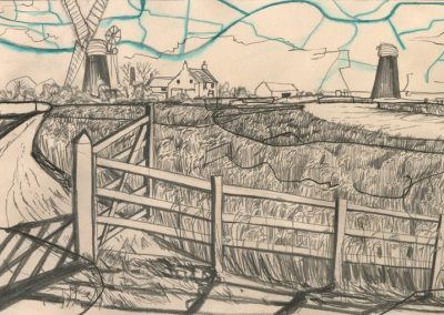 The Broads, Norfolk - walk 1 #67 - mixed media drawing