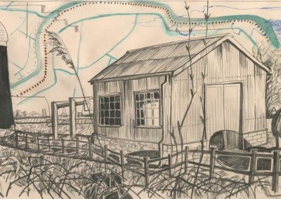 The Broads, Norfolk - walk 1 #76 - mixed media drawing
