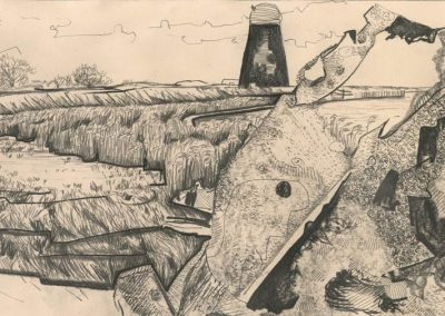 The Broads, Norfolk - walk 1 #78 - mixed media drawing