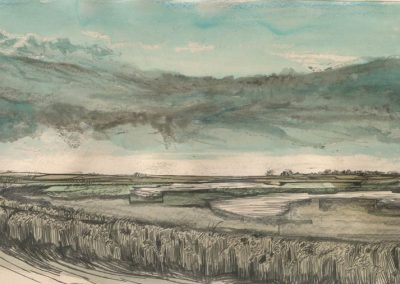 The Broads, Norfolk - walk 1 #84 - mixed media drawing