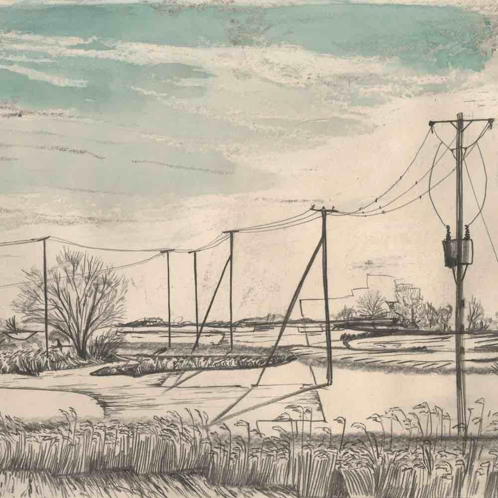 The Broads, Norfolk - walk 1 #85 - mixed media drawing by Neil Bousfield