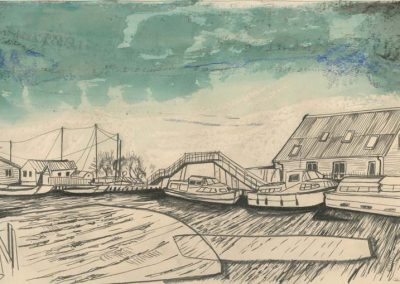 The Broads, Norfolk - walk 2 #01 - mixed media drawing