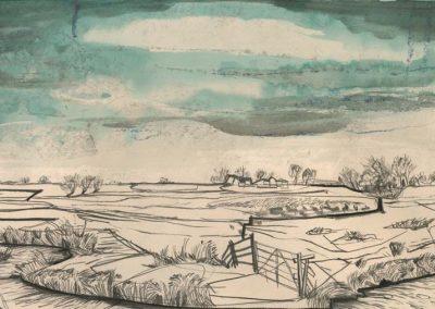 The Broads, Norfolk - walk 2 #03 - mixed media drawing