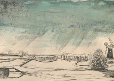 The Broads, Norfolk - walk 2 #04 - mixed media drawing