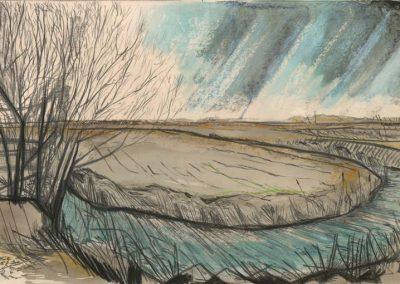 The Broads, Norfolk - walk 2 #07 - mixed media drawing