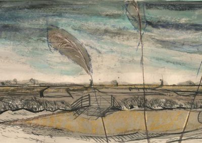 The Broads, Norfolk - walk 2 #10 - mixed media drawing
