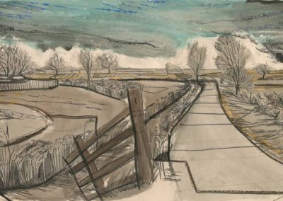 The Broads, Norfolk - walk 2 #13 - mixed media drawing