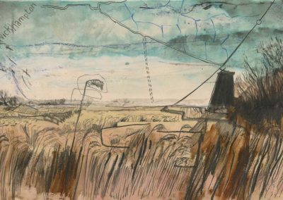 The Broads, Norfolk - walk 2 #18 - mixed media drawing