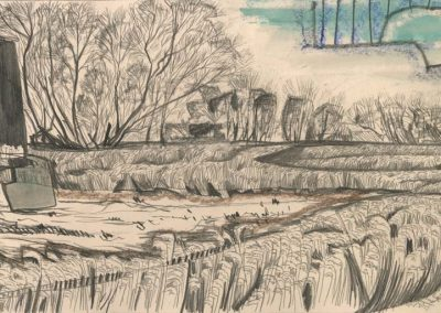 The Broads, Norfolk - walk 2 #19 - mixed media drawing